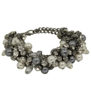 Coco Bracelet, Metal Faux Pearls, Gunmetal Black Grey
