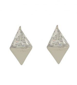 Geo Earrings, Metal Real Gold Plated, White Gold