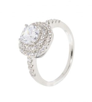 Elizabeth Ring, Real Gold Plated, Metal and Cubic Zirconia, Classic, White Gold
