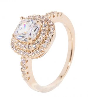 Elizabeth Ring, Real Gold Plated, Metal and Cubic Zirconia, Classic, Rose Gold